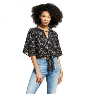 NWT Mossimo Floral Peasant Top XXL Black